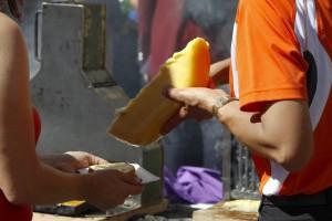 Frisch aufgeschnittener Raclette-Käse