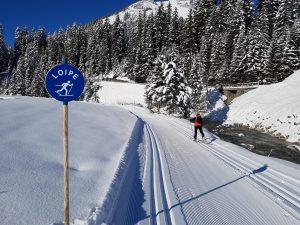Die Loipe von Lech in Richtung Zug/Zugtal. Hier herrschen beste Bedingungen für Skilanglauffans.
