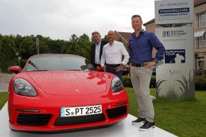 Freuen sich schon auf das Turnier: Claus Kobold (Präsident DGV), Oliver Eidam (Porsche AG) und Dominik Senn (Turnierdirektor)