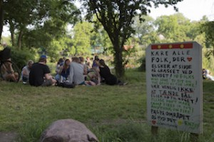 junge Leute entspannen auf einer Wiese