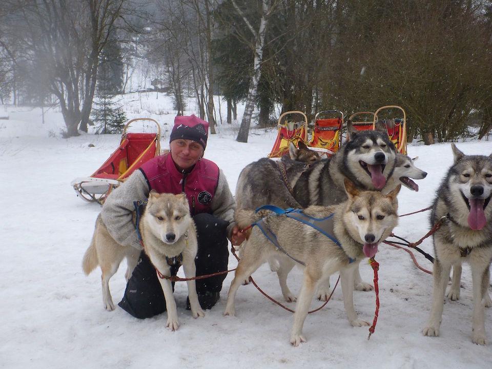 Jana mit ihren Schlittenhunden
