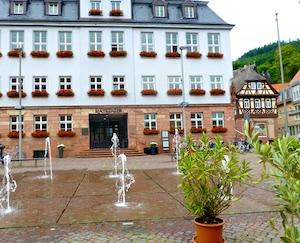 Rathaus Miltenberg Engelsplatz Springbrunnen 2016-06-16 Foto Elke Backert