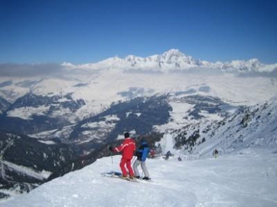 Villaroger-Piste von der Aiguille Rouge mit Blick auf Mont Blanc
