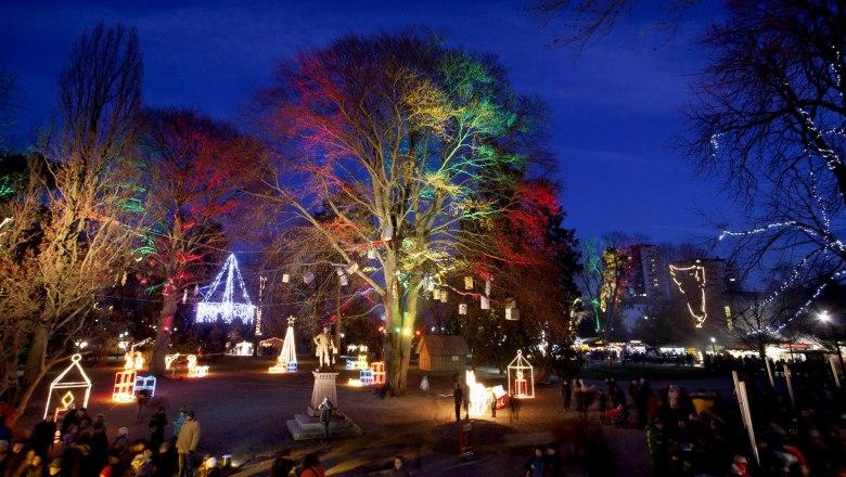 Vorweihnachtliche Stimmung im St. Pöltner Sparkassenpark. Foto: Stefan Seyfert